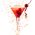 Cocktail Drinks Glass Watercolor Red by Michael Tompsett