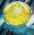 Coconut Milk Sorbet With Mango Sauce Vanilla Ice Cream by Jacek Malipan