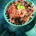 Coconut Milk Sorbet With Strawberry Sauce Vanilla Ice Cream by Jacek Malipan