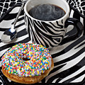 Coffee And Donut On Striped Plate by Garry Gay