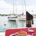 Coffee At Mediterranean Harbour by Elena Elisseeva