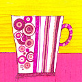 Coffee Cup - Teacup - Pink Circle And Lines Modern Design Illustration Art by Patricia Awapara