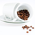 Coffee Cups And Coffee Beans  by U Schade