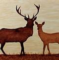 Coffee Painting Deer Love by Georgeta  Blanaru