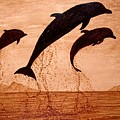 Coffee Painting Dolphins Playing by Georgeta  Blanaru