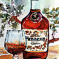 Cognac Hennessy Bottle And Glass Still Life by Ginette Callaway