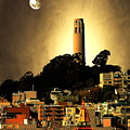 Coit Tower And The Empress Of China Under The Golden Moonlight by Wingsdomain Art and Photography