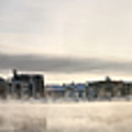 Cold Day Foggy River Panorama Oulu by Sandra Rugina