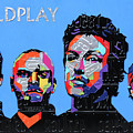 Coldplay Band Portrait Recycled License Plates Art On Blue Wood by Design Turnpike