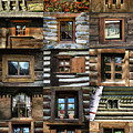 Collage From Handmade Traditional Wooden  Windows In Village Museum Bucharest by Daliana Pacuraru