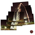 Collage Of Gateway Arch At Night by Garry McMichael