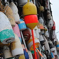 Collection Of  Buoys In Bar Harbor Maine by Linda  Howes