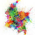Colombia Paint Splashes Map by Michael Tompsett