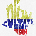 Colombia Typographic Map Flag by Inspirowl Design