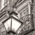 Colonial Lamp And Window Bw by Jerry Fornarotto