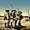 Colonial Soldiers Standing At Attention by Bill Cannon