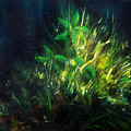 Color Oil Painting Green Plant On Dark Blue Background by Jozef Klopacka