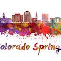 Colorado Springs V2 Skyline In Watercolor by Pablo Romero