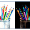 Colored Pencils - The Positive And The Negative by Arline Wagner