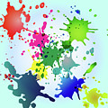 Colored Splashes On A Very Beautiful Blue Background by Artur Sharakhimov
