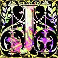 Colorful Ancient Alphabet Letter Black J by Isabella Howard