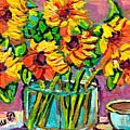 Colorful And Vibrant Sunflowers In Glass Vase With Cup Colorful Original Painting By Carole Spandau by Carole Spandau