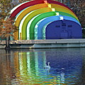 Colorful Bandshell And Swan by Denise Mazzocco
