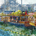 Colorful Boats In Istanbul Turkey by Brandon Bourdages