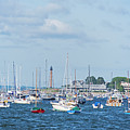 Colorful Boats Lined In Marblehead Harbor Marblehead Ma Chandler Hovey Park by Toby McGuire