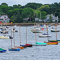 Colorful Boats Lined In Marblehead Harbor Marblehead Ma by Toby McGuire