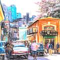 Colorful Buildings And Old Cars In Havana - V3 by Les Palenik