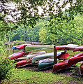 Colorful Canoes At Hungry Mother State Park by Kerri Farley