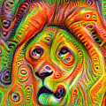 Colorful Crazy Lion Deep Dream by Matthias Hauser