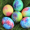 Colorful Easter Eggs On Green Grass by Didart Collection