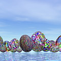 Colorful Eggs For Easter - 3d Render by Elenarts - Elena Duvernay Digital Art