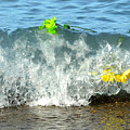 Colorful Flowers Crashing Inside A Wave Against The Shoreline by Reva Steenbergen