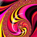 Colorful Fractal Spiral Red Yellow Pink by Matthias Hauser