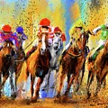 Colorful Horse Racing - Signed by Lourry Legarde