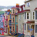Colorful Houses In St. Johns, Nl by Les Palenik