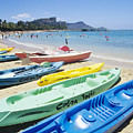 Colorful Kayaks On The Beach by Bill Brennan - Printscapes