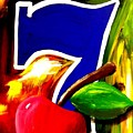 Colorful Lucky Seven Slot Machine Casino Decor With Cherry by Teo Alfonso