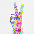 Colorful Painting Of Hand Point Two Finger by Setsiri Silapasuwanchai