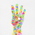 Colorful Painting Of Hand Pointing Four Finger by Setsiri Silapasuwanchai