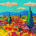 Colorful Poppies Field Abstract Landscape Impressionist Palette Knife Painting By Ana Maria Edulescu by Ana Maria Edulescu