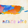 Colorful Puerto Rico Map by Dan Sproul