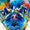 Colorful Pug Art - Smug Pug - By Sharon Cummings by Sharon Cummings
