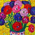 Colorful Ranunculus Flowers In Polka Dots Vase Palette Knife Oil Painting By Ana Maria Edulescu by Ana Maria Edulescu