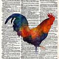 Colorful Rooster On Vintage Dictionary by Hailey E Herrera