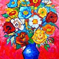 Colorful Roses And Camellias - Abstract Bouquet Of Flowers by Ana Maria Edulescu