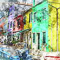 Colorful Street In Burano Near Venice Italy by Brandon Bourdages